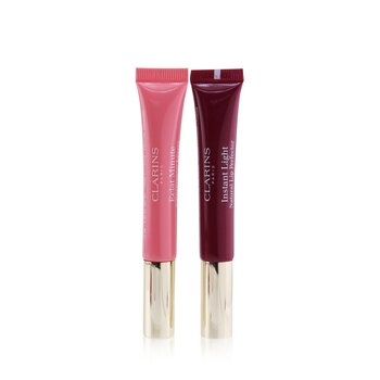 Clarins Instant Light Lip Perfector Collection - #01 Rose Shimmer + #08 Plum Shimmer