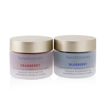 BareMinerals Superfruit Mask Duo (Limited Edition): Cranberry Exfoliating Face Mask 30g+ Blueberry Nourishing Face Mask 30g
